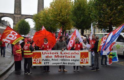 500 personnes à la manif contre les ordonnances Macron contre le droit du travail à Morlaix ce 21 septembre