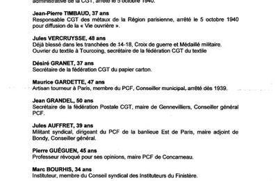 76 e anniversaire de la fusillade des 27 otages de Chateaubriant: déplacement entre Brest, Morlaix, et la sablière de Chateaubriant le dimanche 22 octobre