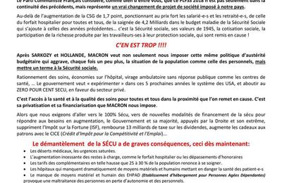 Projet de loi de financement programmée de la Sécurité Sociale: Macron ne lésine pas, c'est la mort programmée de la Sécurité Sociale (PCF, novembre 2017)