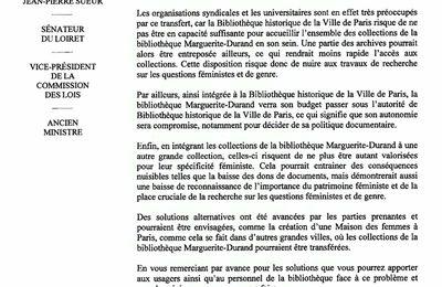 Bibliothèque des Femmes : Un Sénateur socialiste (et ancien ministre) interpelle Anne Hidalgo