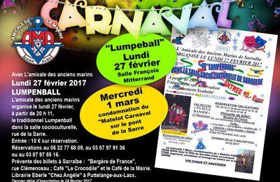 Soirée carnavalesque avec L'amicale des anciens marins - Sarralbe, février 2017