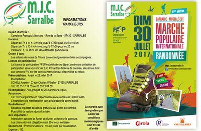 La MJC organise la 6éme édition de sa Marche Populaire - Sarralbe, juillet 2017