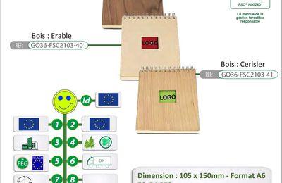 Carnets A6 avec couverture en bois certifiés FSC® GO36-FSC2103