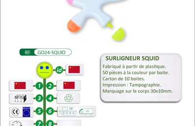 Surligneur 5 couleurs SQUID - GO24-SQUID
