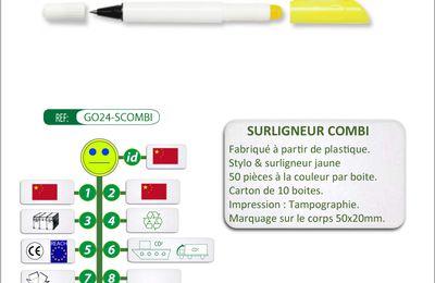 Duo stylo et surligneur à capuchons - GO24-SCOMBI
