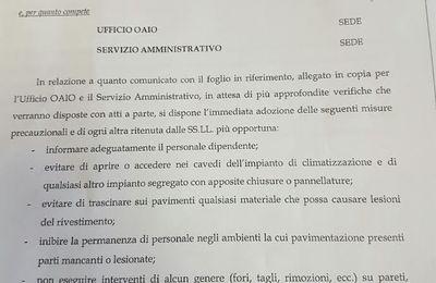 """Roma:Il Generale avverte :""""Amianto dappertutto""""100 Carabinieri rischiano la vita"""