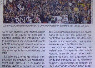 Procès des manifestations interdites à Nantes : camouflet pour la police