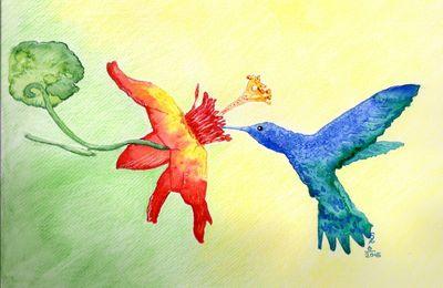 Colibri et fleur à l'aquarelle