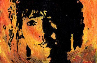Acrylique et transfert: Un autoportrait