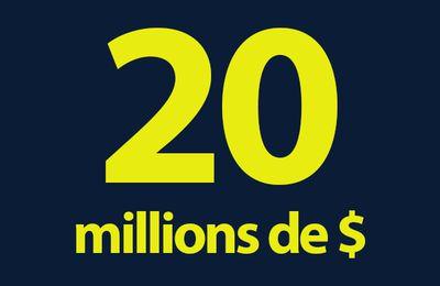 Le chiffre de la semaine : 20 millions de dollars par saison