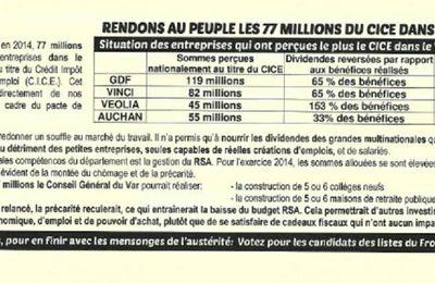 Front de Gauche : Rendons l'argent du peuple du CICE