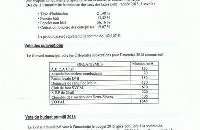 Compte-rendu du Conseil Municipal du 14 avril 2015