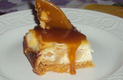 cheesecake aux pommes a la cassonade, sauce caramel et croquant aux noix