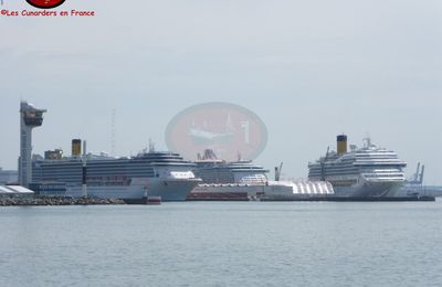 Escale des Independence of the Seas, Costa Magica et Costa Mediterranea au Havre le 28/05/17.