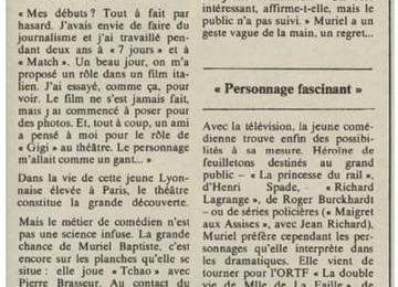 INTERVIEW DE MURIEL dans le journal suisse Illustré