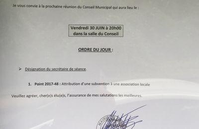 Ordre du jour du Conseil Municipal de Compans du 30 Juin 2017