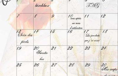 Planning du mois de Juin