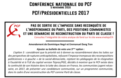 PCF/Présidentielles : Conférence nationale du 5 nov. REFUS DES DEUX CHOIX, COMPLEMENTAIRES, DU FOND DE L'IMPASSE