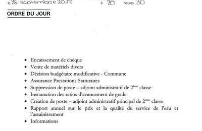 Réunion du Conseil Municipal le 28/09/2017