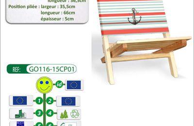 Chaise pliante pour évènnementiel avec marquage en quadri digitale.