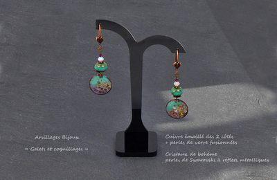 Boucles d'oreilles - Evasion - Galets, coquillages -