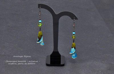 Boucles oreilles - Corolles trompettes - céramique