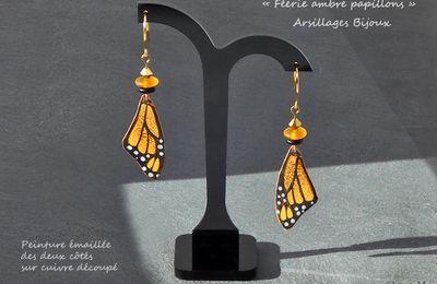 Boucles oreilles - Féerie ambre papillons -