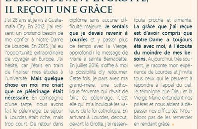 Un témoignage du journal des Grâces diffusé sur le site du sanctuaire de Lourdes