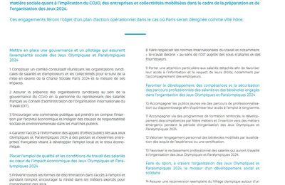 La charte sociale Paris 2024