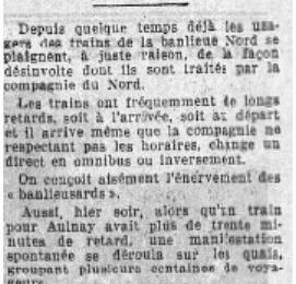 Trains de banlieue nord de Paris en retard... 1937