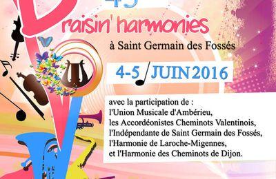 4 et 5 juin 2016 : Draisin'harmonies à Saint-Germain-des-Fossés
