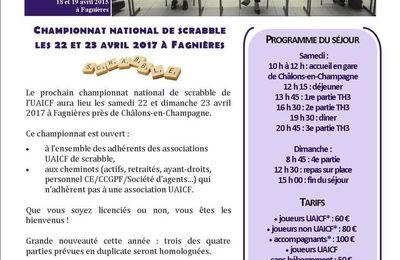 22 et 23 avril 2017 : championnat national de scrabble à Fagnières