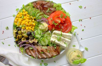 Salade mixte et steak