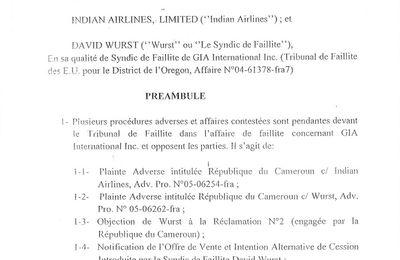 Accord de Reglement  et Cession Mutuelle ( Settlment Agreement and Mutual Release )  signé par Me Akéré Muna en sept  2006 aux USA.