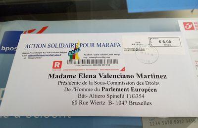 Correspondances de ASMA à la présidente de la Sous-Commission des Droits de l'Homme du Parlement Européen Elena Valenciano Martinez.