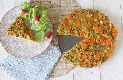 Tarte de polenta aux légumes et curry - vegan