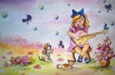 En musique - Illustration enfantine - Aquarelle 17x25cm