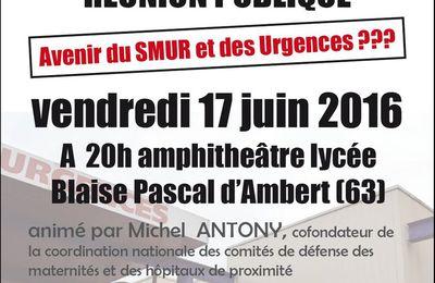 Réunion publique : Avenir du SMUR et des Urgences d'Ambert