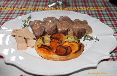 Magret de canard au foie gras, tartelettes aux carottes tricolores