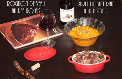 Rognon de veau au Beaujolais - purée de butternut à la pistache