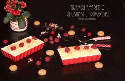 Tiramisu amaretto, rhubarbe framboise
