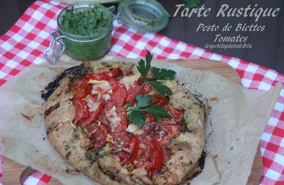 Tarte rustique au pesto de blettes et tomates