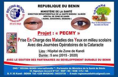 """Projet """"PECMY"""":Prise En Charge des Maladies des Yeux en milieu scolaire dans la Zone Sanitaire de Kandi au Nord du Bénin:Kandi-Gogounou-Sègbana.Contact: +229 96426342 ou bien +229 65350165"""