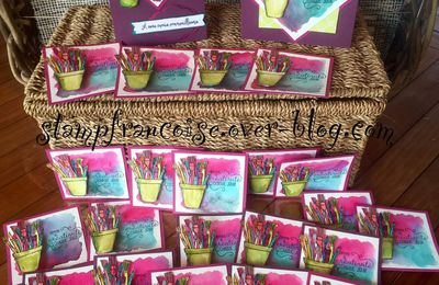 """Stampin' Up  Atelier gratuit Aquarelle """"Créativité toujours"""" / """"Crafting Forever"""" card featuring 2017-2019"""