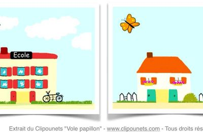 Vole papillon - Paroles illustrées à imprimer pour classes de maternelle