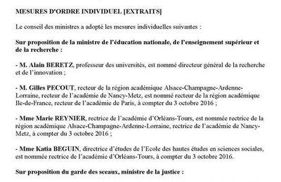Conseil des Ministres 14/6/16 (1/2) : Changement de rectrice dans l'académie Orléans-Tours. MàJ 18/9/16 VsNsIls