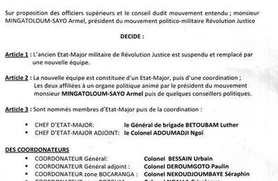 Un nouveau état major pour le mouvement Révolution Justice DE Armel Mingatoloum Sayo