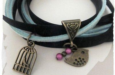 """Bracelet 2 tours """"la cage aux oiseaux """" , 4 rangs"""