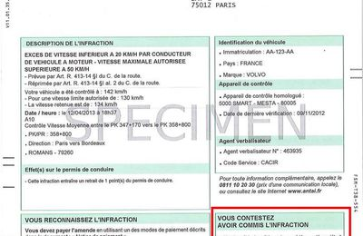 formulaire de contestation de contravention