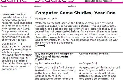 Game Studies, the international journal of computer game research